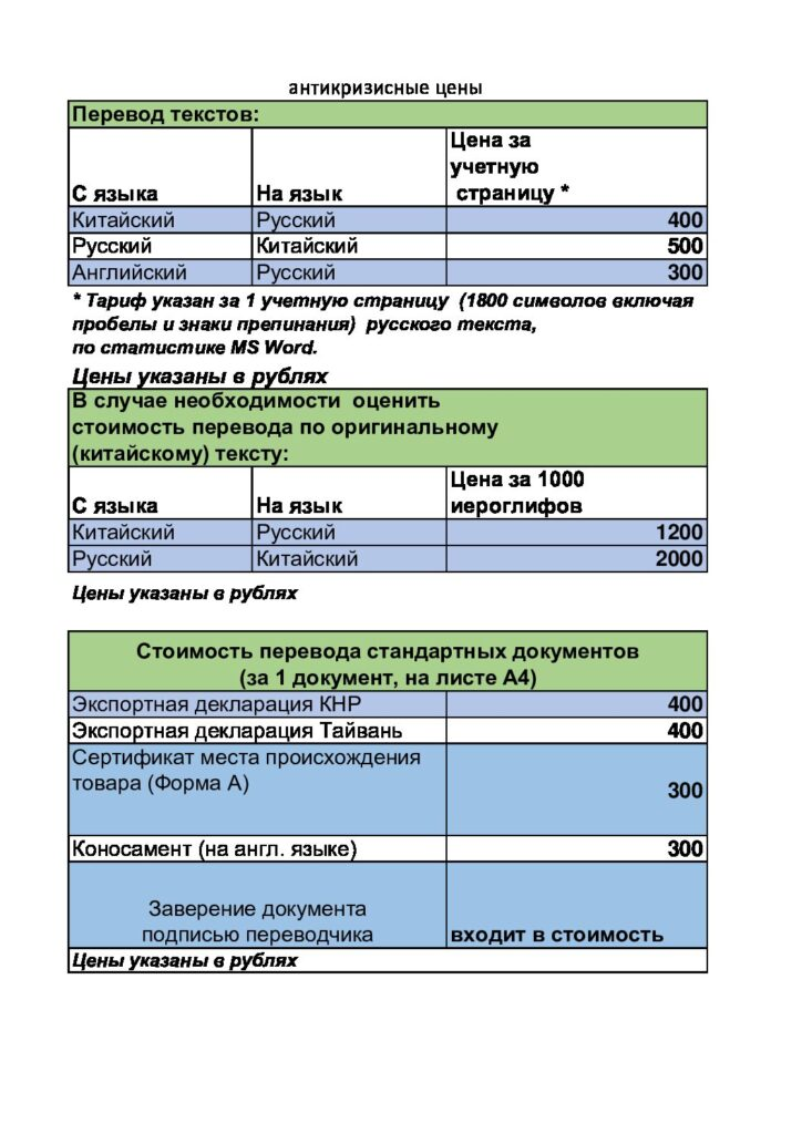 цены на услуги письменного перевода